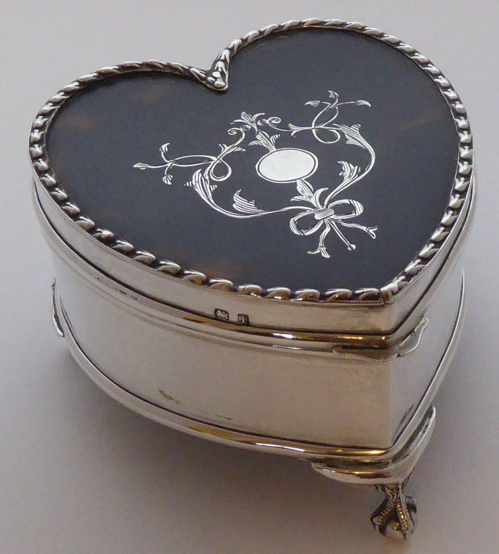 edwardian 1908 hallmarked solid silver tortoiseshell love heart pill earring jewellery box