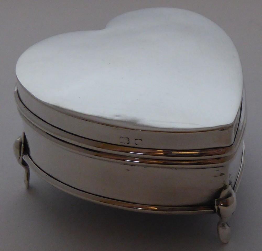 edwardian 1909 hallmarked solid silver love heart pill earring jewellery box