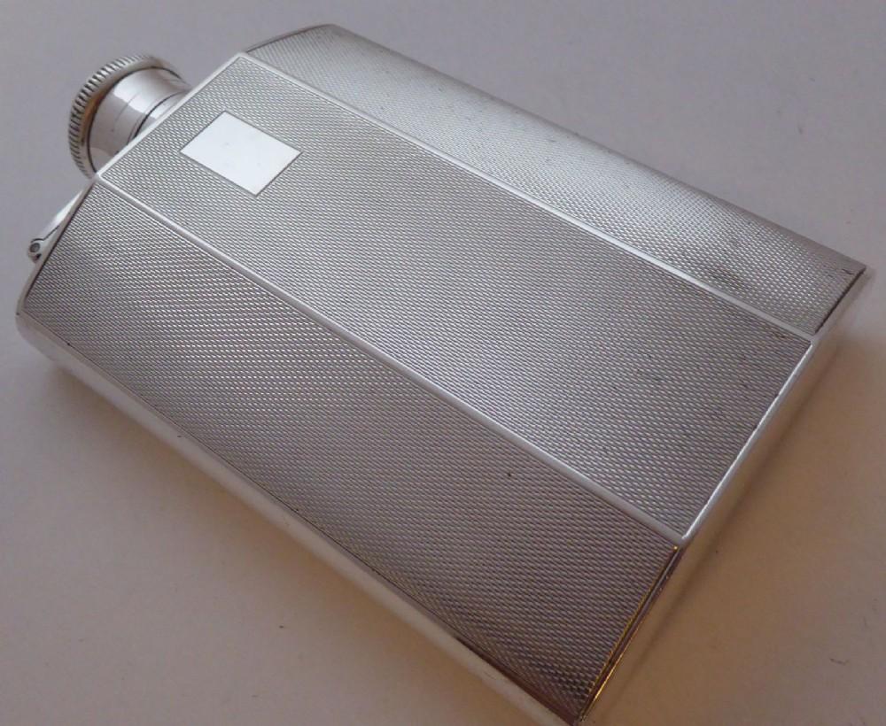 birmingham 1939 art deco solid hallmarked silver hip flask sanders mackenzie