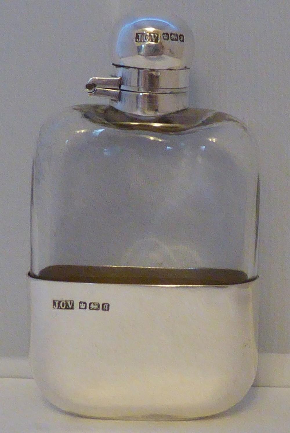 edwardian 1907 solid hallmarked silver hip flask john collard vickery 2 fl oz