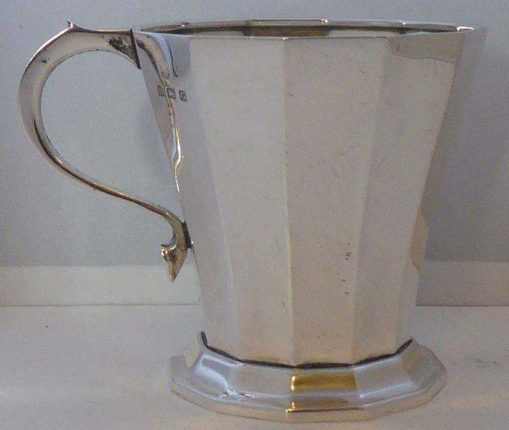 art deco 1931 william neale hallmarked solid silver christening mug tankard