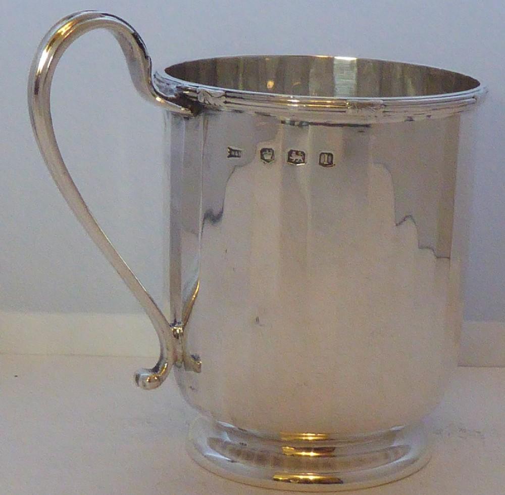 1928 walker hall hallmarked solid silver tankard christening mug