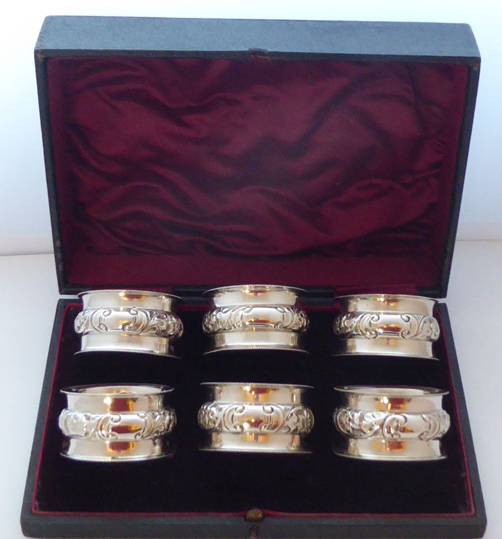 boxed set of 6 edwardian hallmarked solid silver napkin rings serviette ring