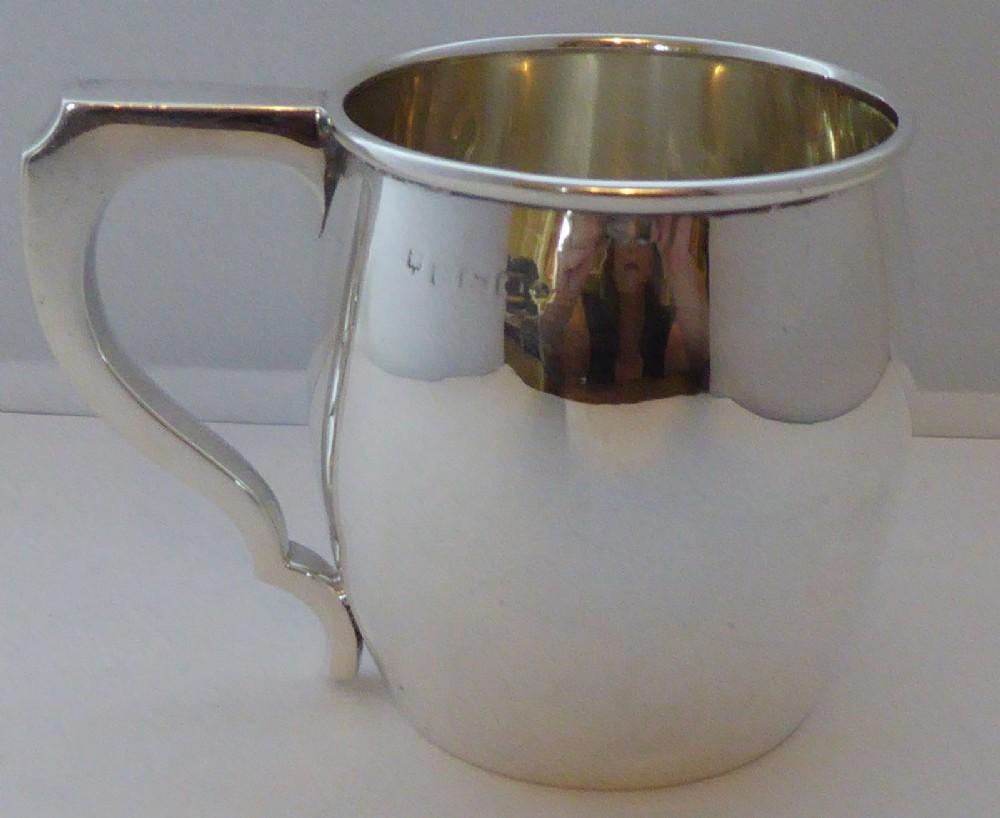 birmingham 1927 hallmarked solid silver christening mug tankard