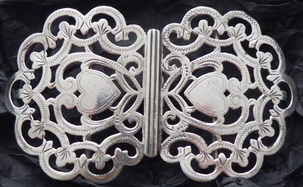 silver nurses belt buck victorian 1898 hallmarked love heat valentine