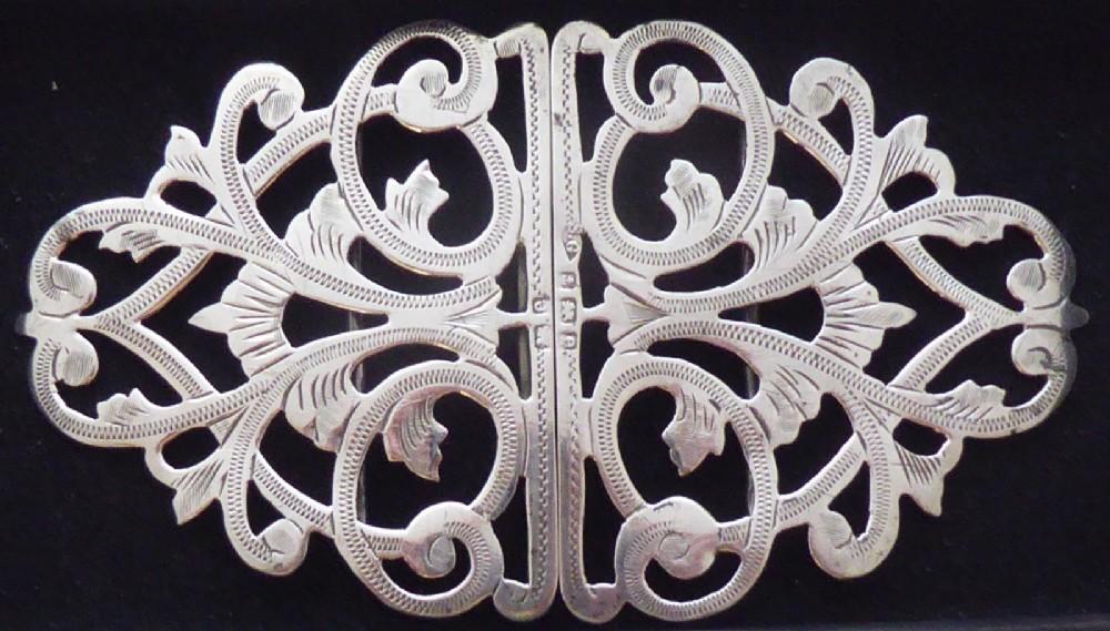 large edwardian 1904 nurses buckle hallmarked solid silver nurses belt buckle