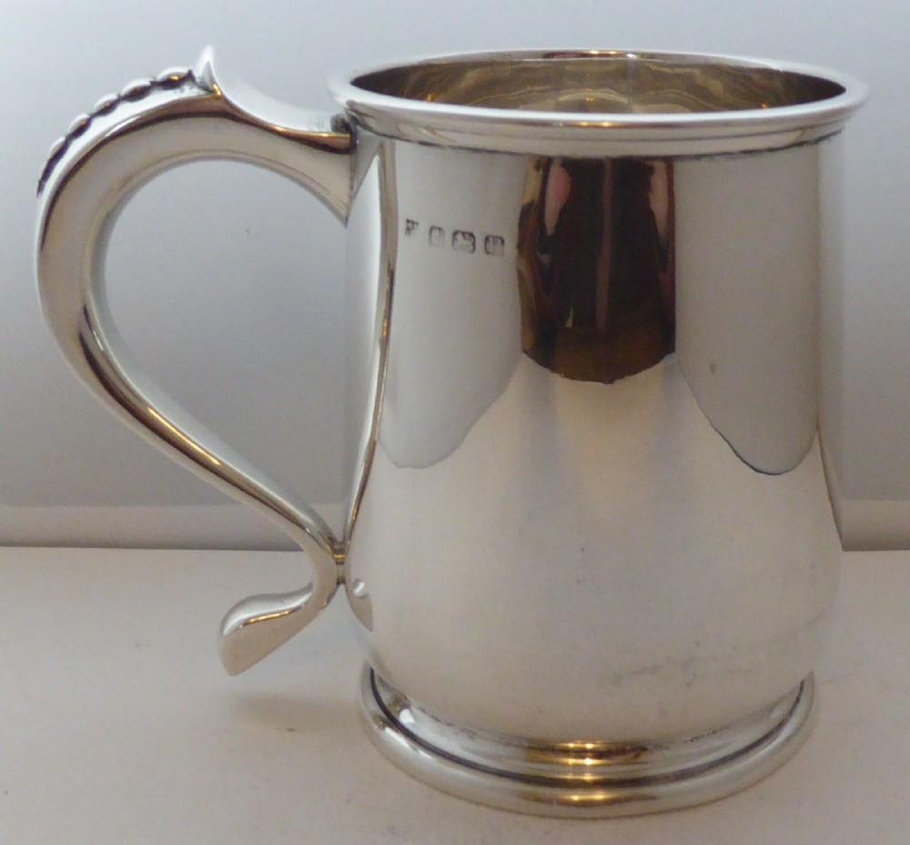 1939 1 pint tankard hallmarked solid silver christening mug william neale