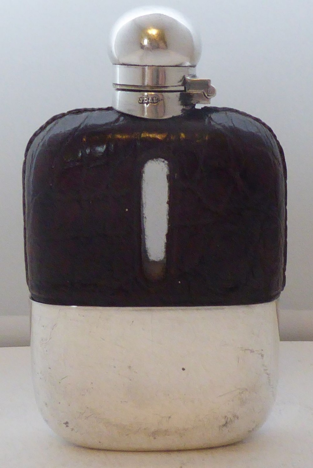 small 1930 silver plate plated crocodile skin bound glass hip flask james dixon