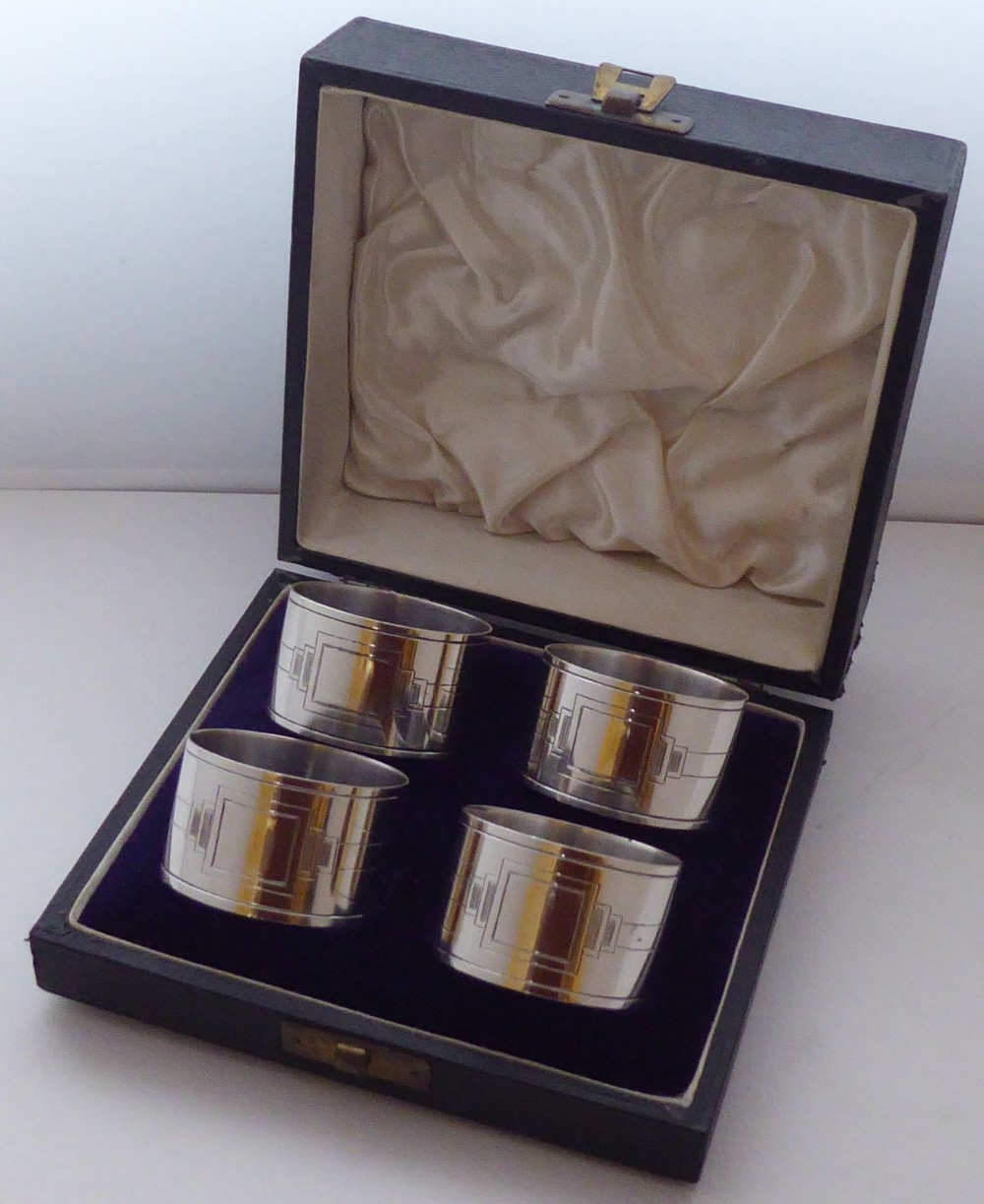 walker hall set 4 art deco hallmarked solid silver napkin rings serviette ring