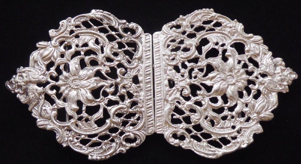 large victorian 1895 hallmarked solid silver nurses belt buckle matron