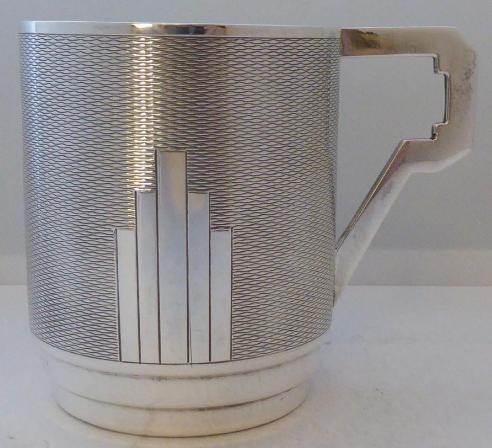 art deco 1932 hallmarked solid silver christening mug tankard mint condition