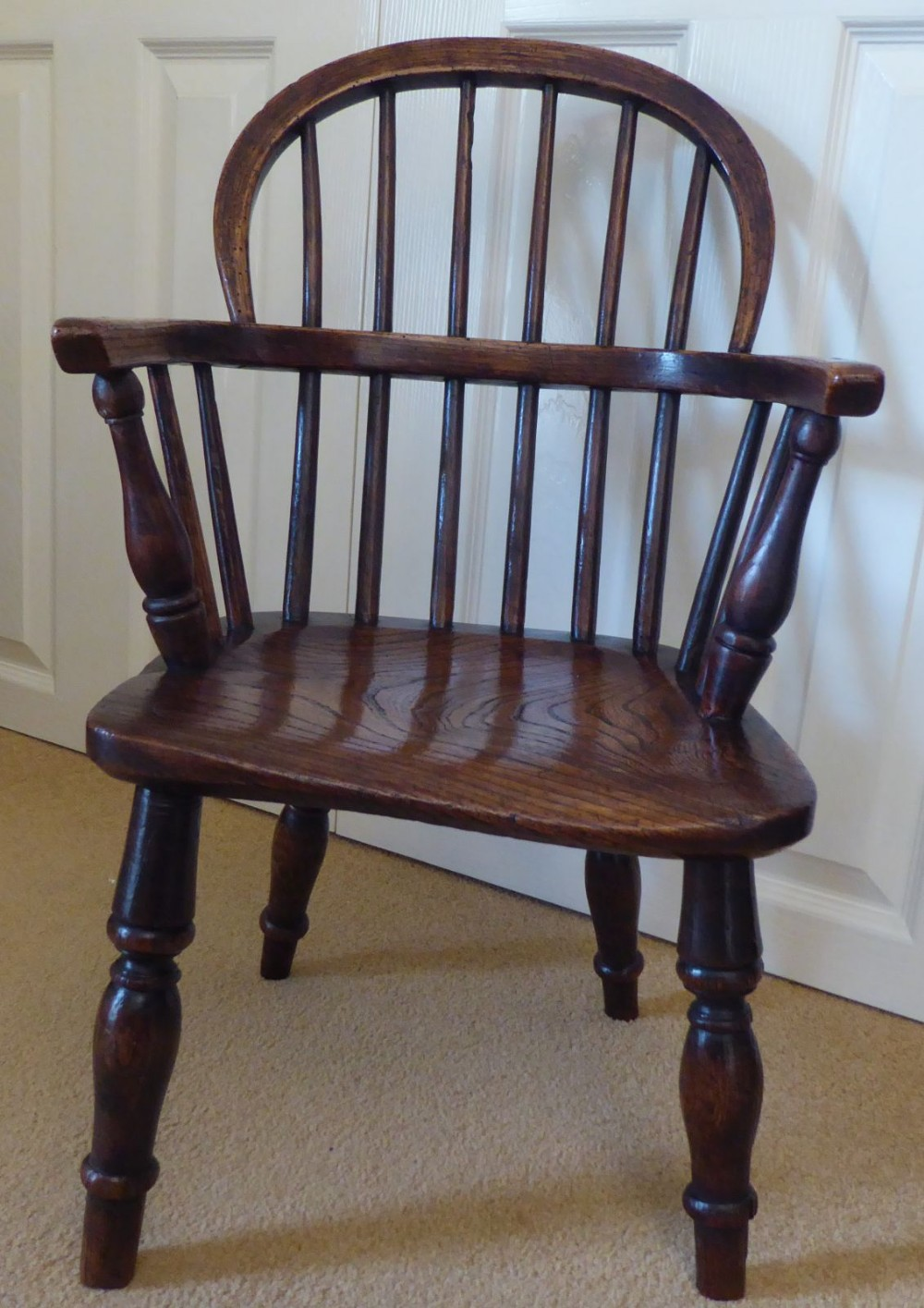 c1840 victorian ash and elm wood childs windsor chair