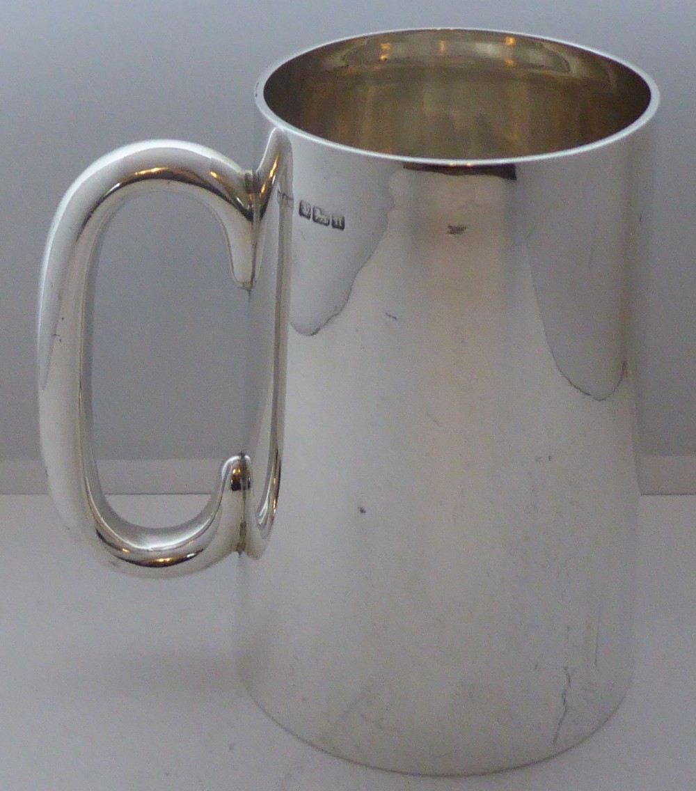 edwardian mappin webb hallmarked solid silver 1 pint tankard christening mug