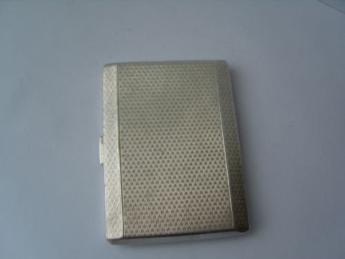 lovely hallmarked silver engine turned cigarettecard case - photo angle #2