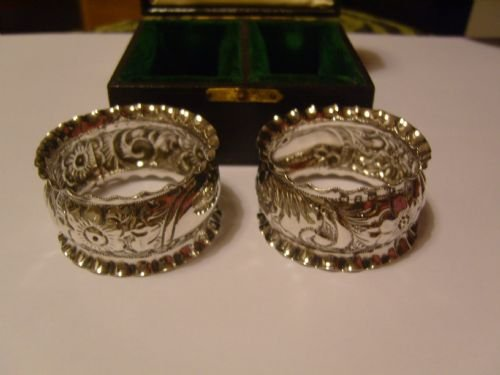 lovely pair of boxed victorian silver napkin rings - photo angle #3