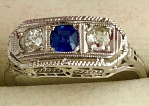 super quality18ct gold old mined cut diamond sapphire three stone art deco ring