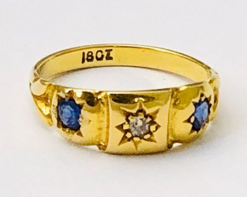 lovely victorian 18ct gold sapphire diamond gypsy ring