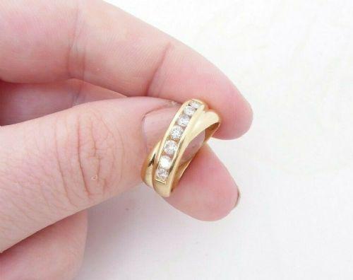 super 18ct gold 12ct diamond ring 7 stone cross over half eternity ring