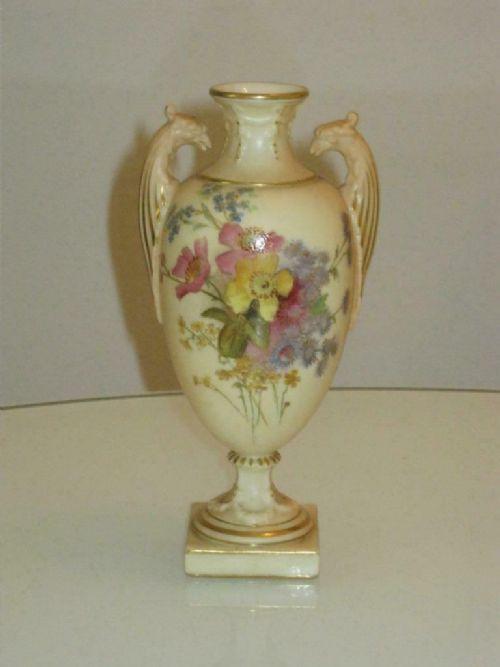 stunning antique handpainted royal worcester blush ivory vase