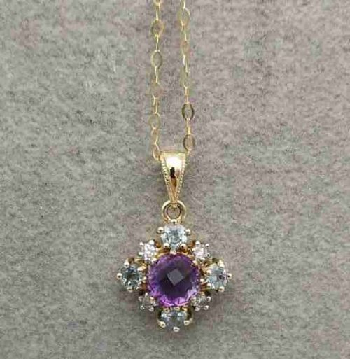 9ct gold diamond amethyst and blue topaz cluster pendant with chain