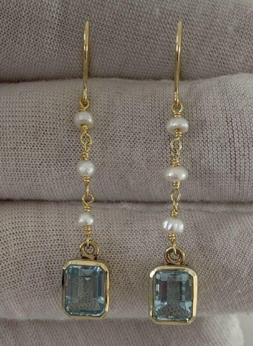 9ct gold emerald cut blue topaz baroque pearl drop dangling earrings