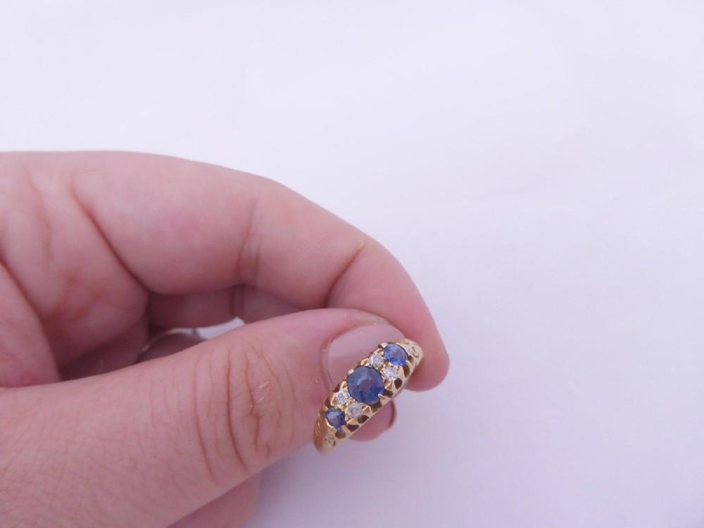 super18ct gold art deco sapphire diamond ring