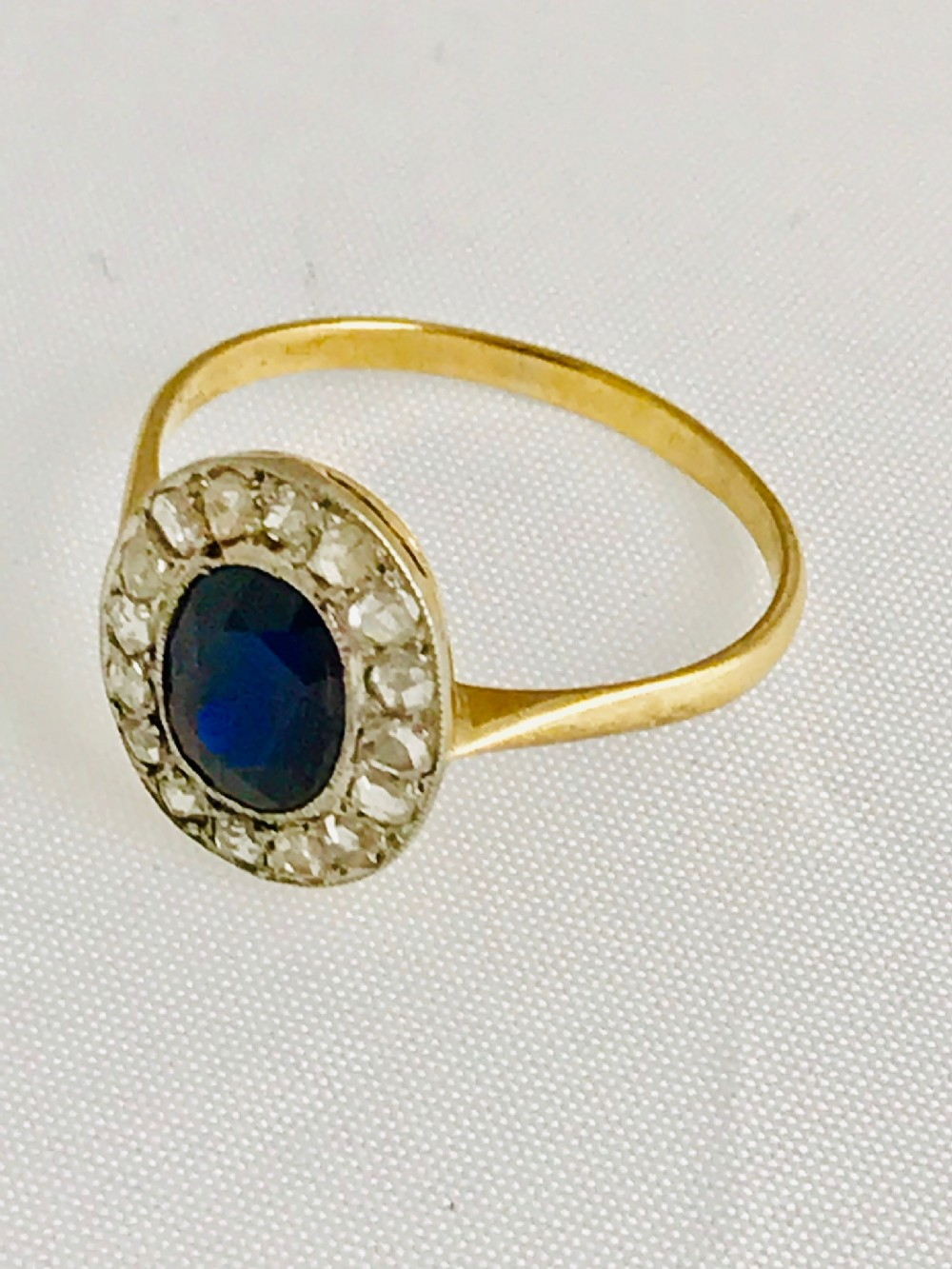 lovely victorian 18ct gold sapphire and diamond ring