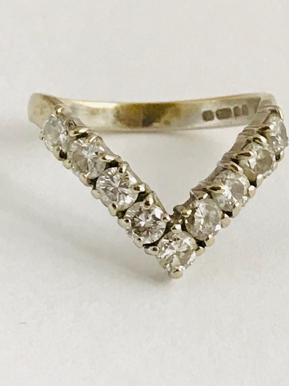 wishbone 18ct white gold diamond ring 09ct size m