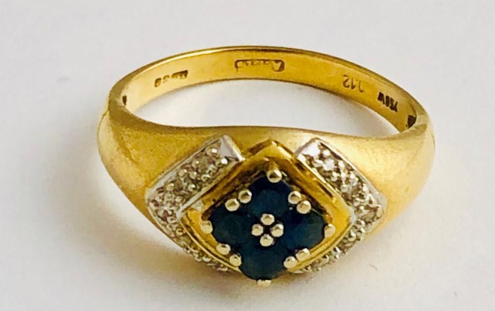 beautiful art deco 18ct gold sapphire diamond ring