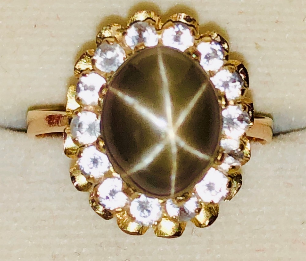 rare 18ct yellow and rose gold unusual colour star ruby and white sapphire ring