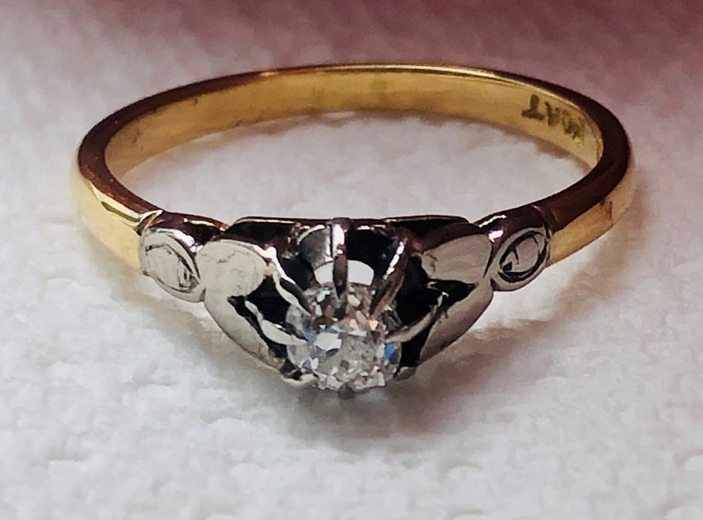 lovely edwardian 18ct gold platinum diamond solitaire ring
