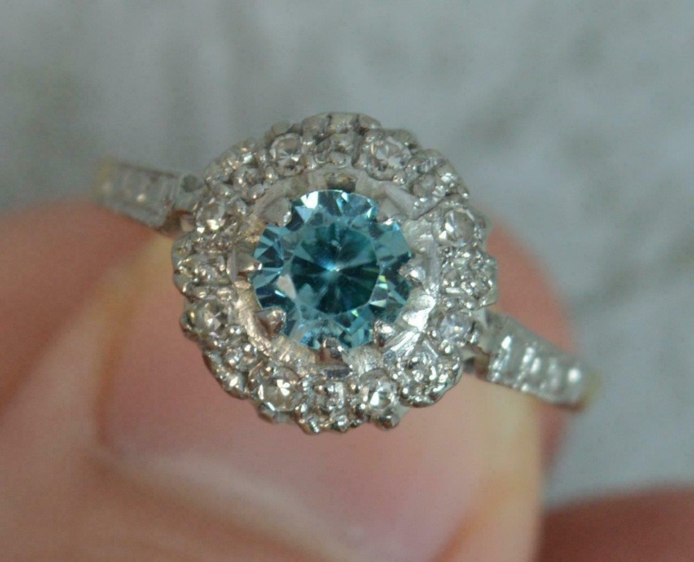 edwardian 18ct gold and platinum blue zircon diamond cluster ring