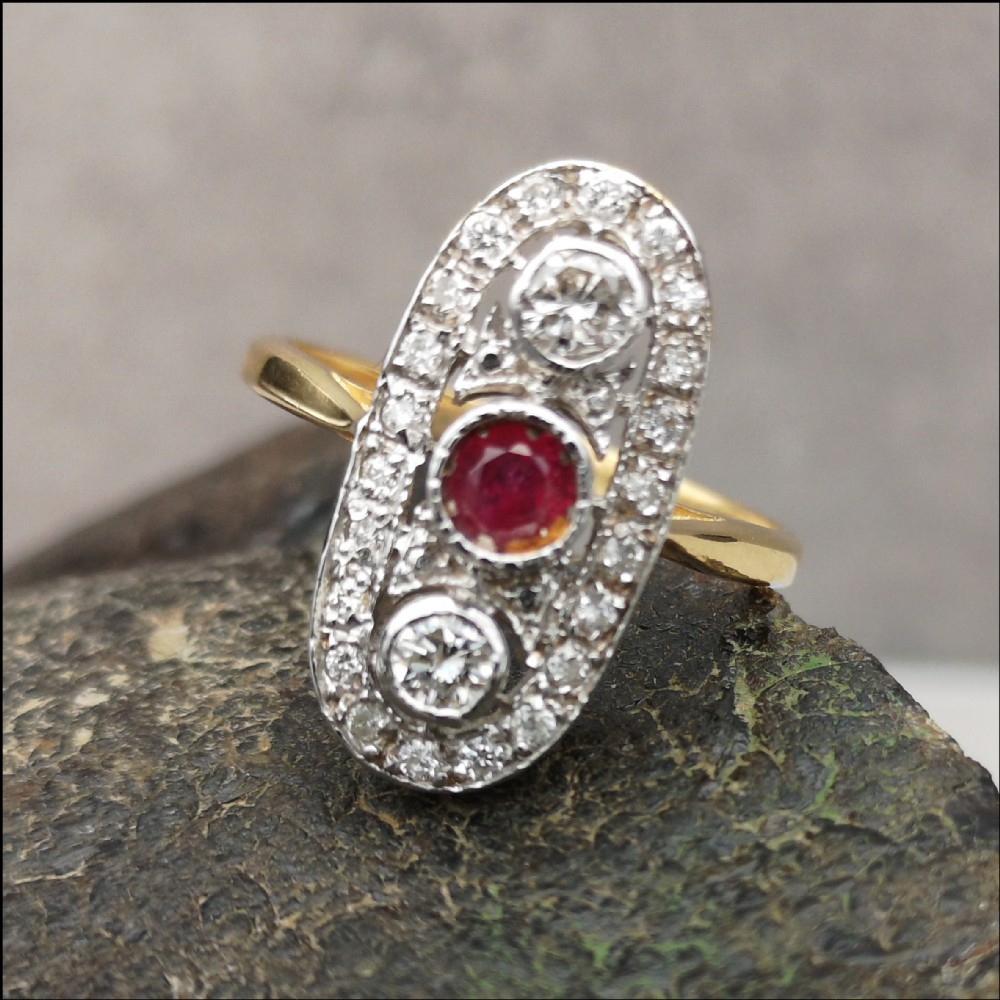 fine large vintage ruby 084cct diamond cluster 18ct gold ring