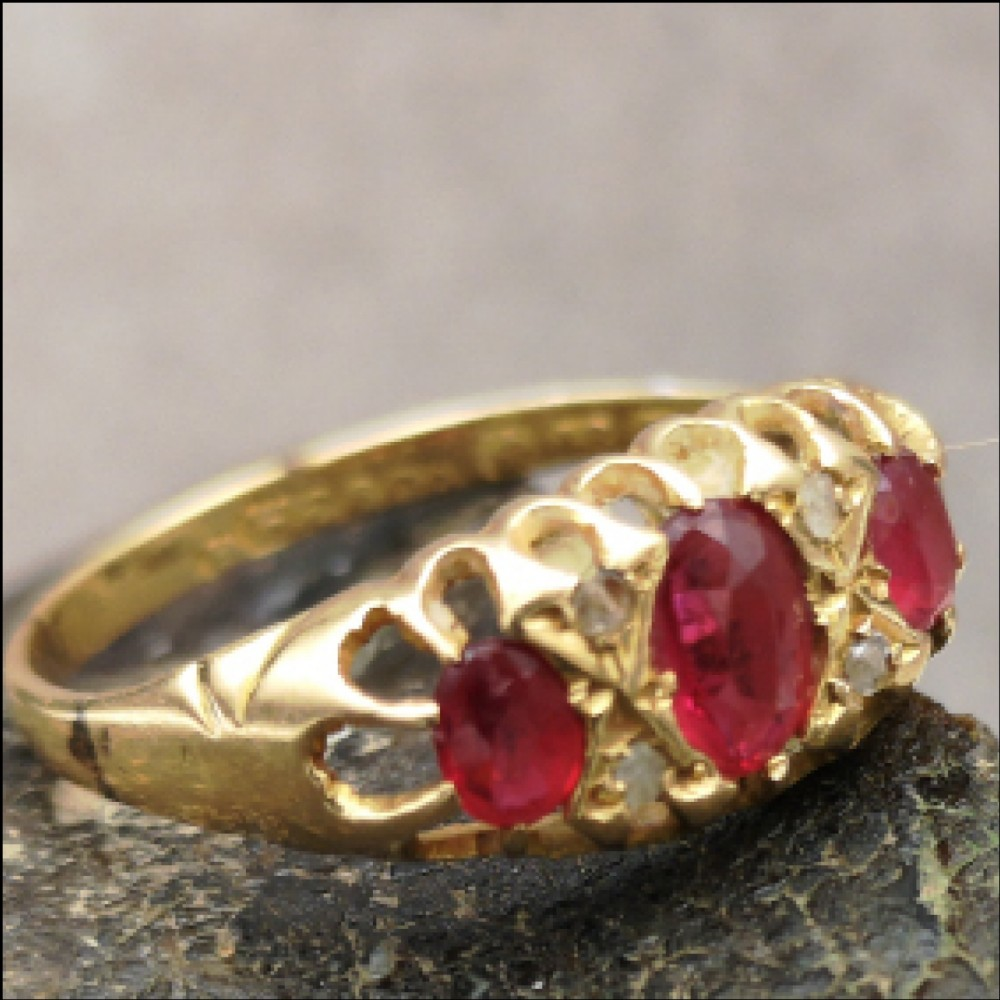 superb antique 18ct gold ruby and diamond ring