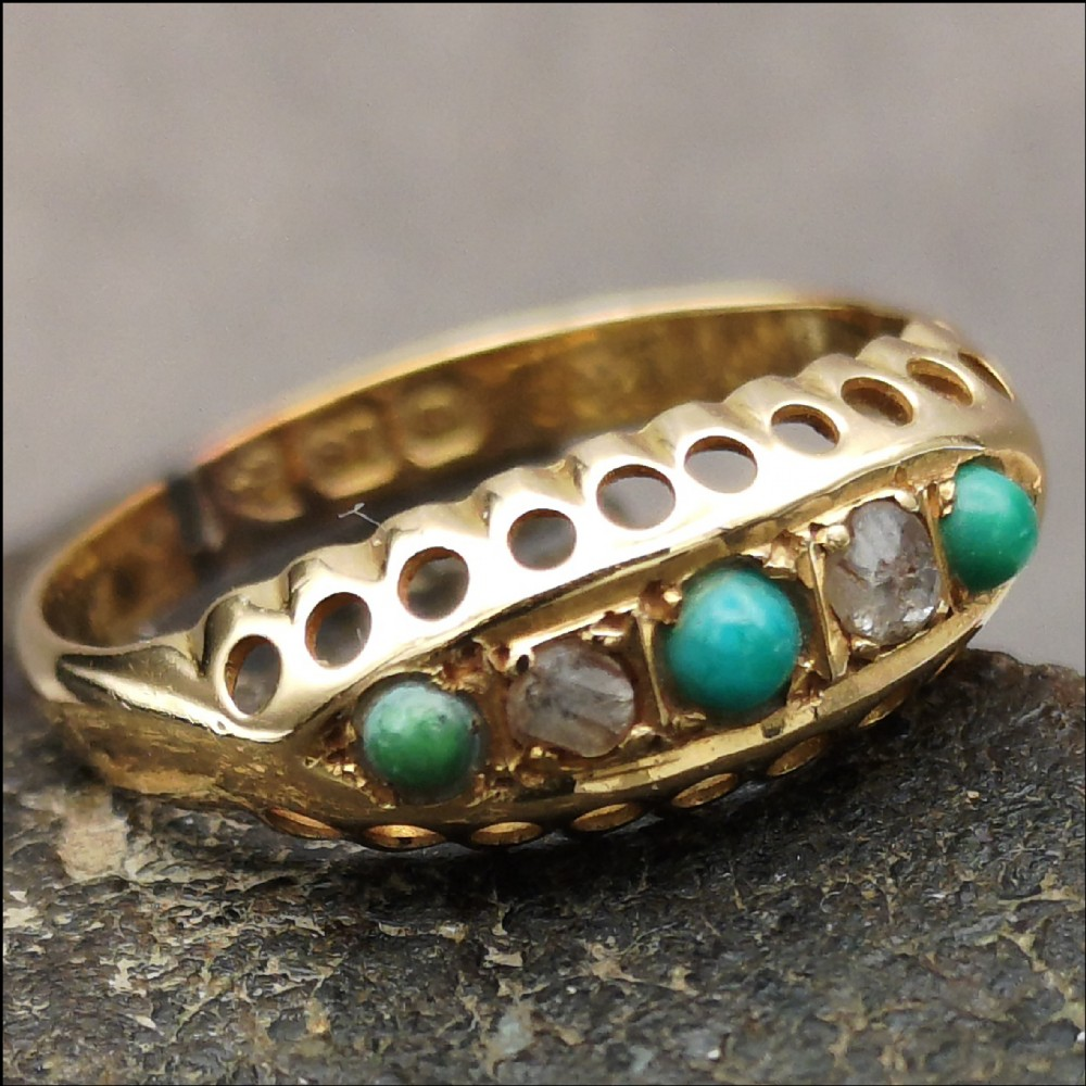 antique victorian diamond turquoise set 18ct gold ring uk size n chester c1890