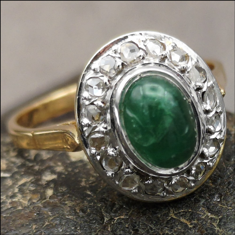 18ct gold emerald cabochon and rose cut diamond cluster ring