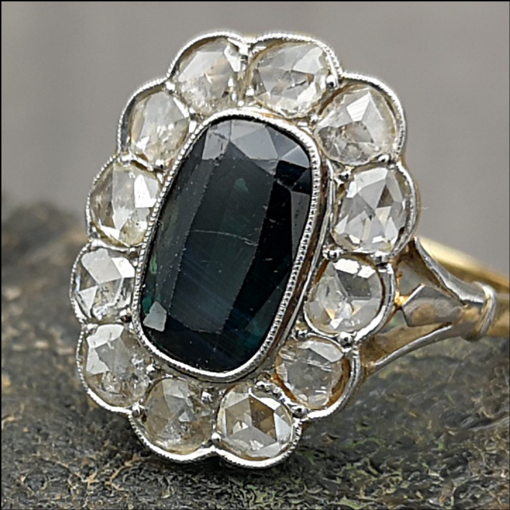 stunning victorian 18ct gold 25ct sapphire 17ct diamond ring