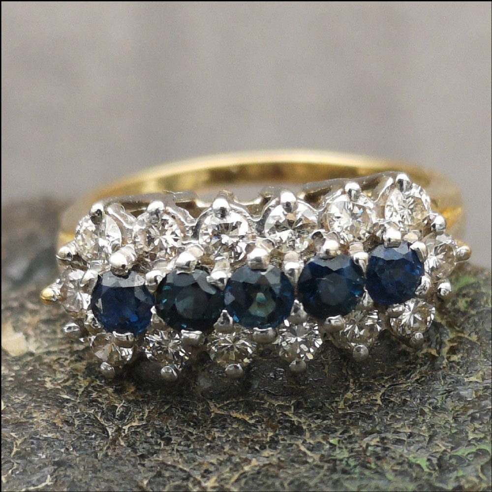 18ct gold sapphire 1ct and diamond 07ct ring size m12