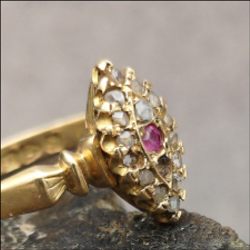 antique victorian 18ct gold ruby and diamond marquise ring