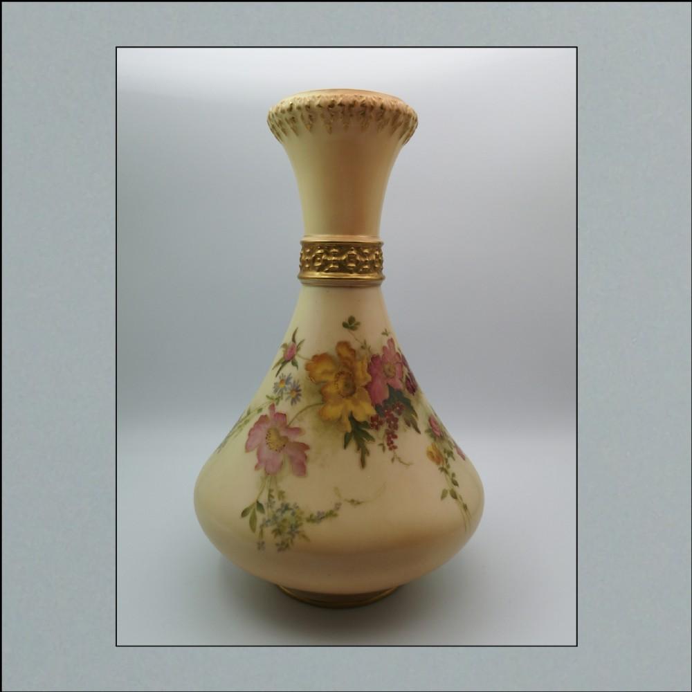 edwardian royal worcester blush ivory tall vase