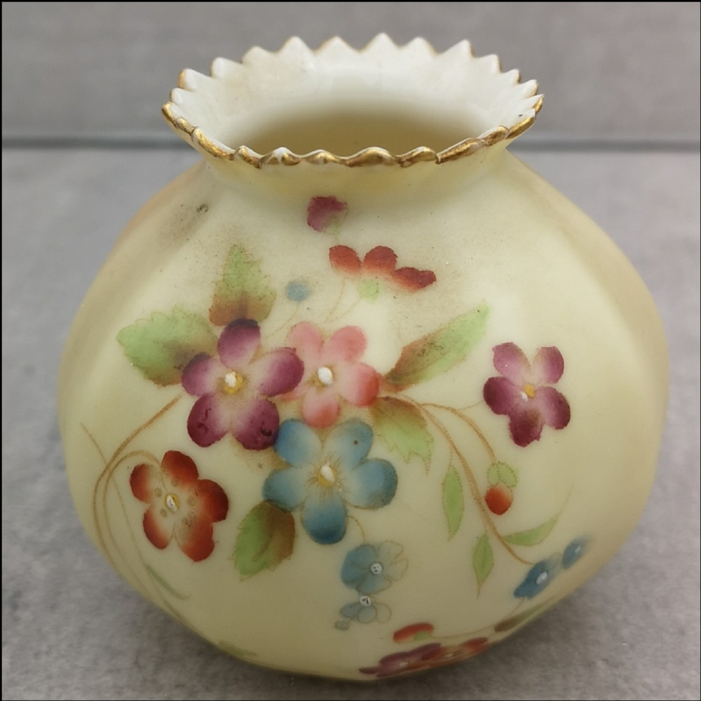 royal worcester blush ivory miniature round vase cira 1907 with painted flowers
