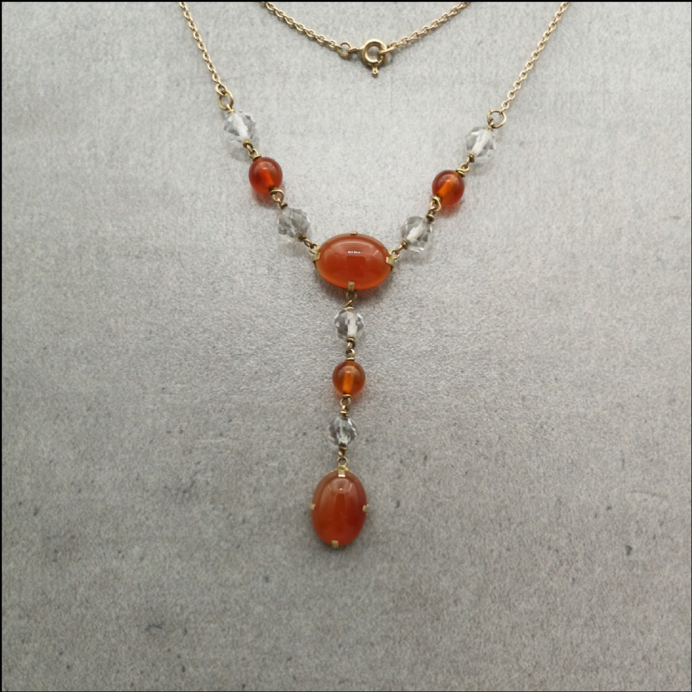 9ct gold art deco carnelian and crystal necklace