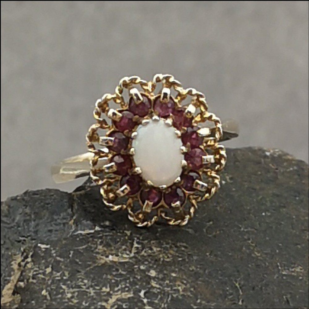 9ct gold fiery opal ruby cluster ring