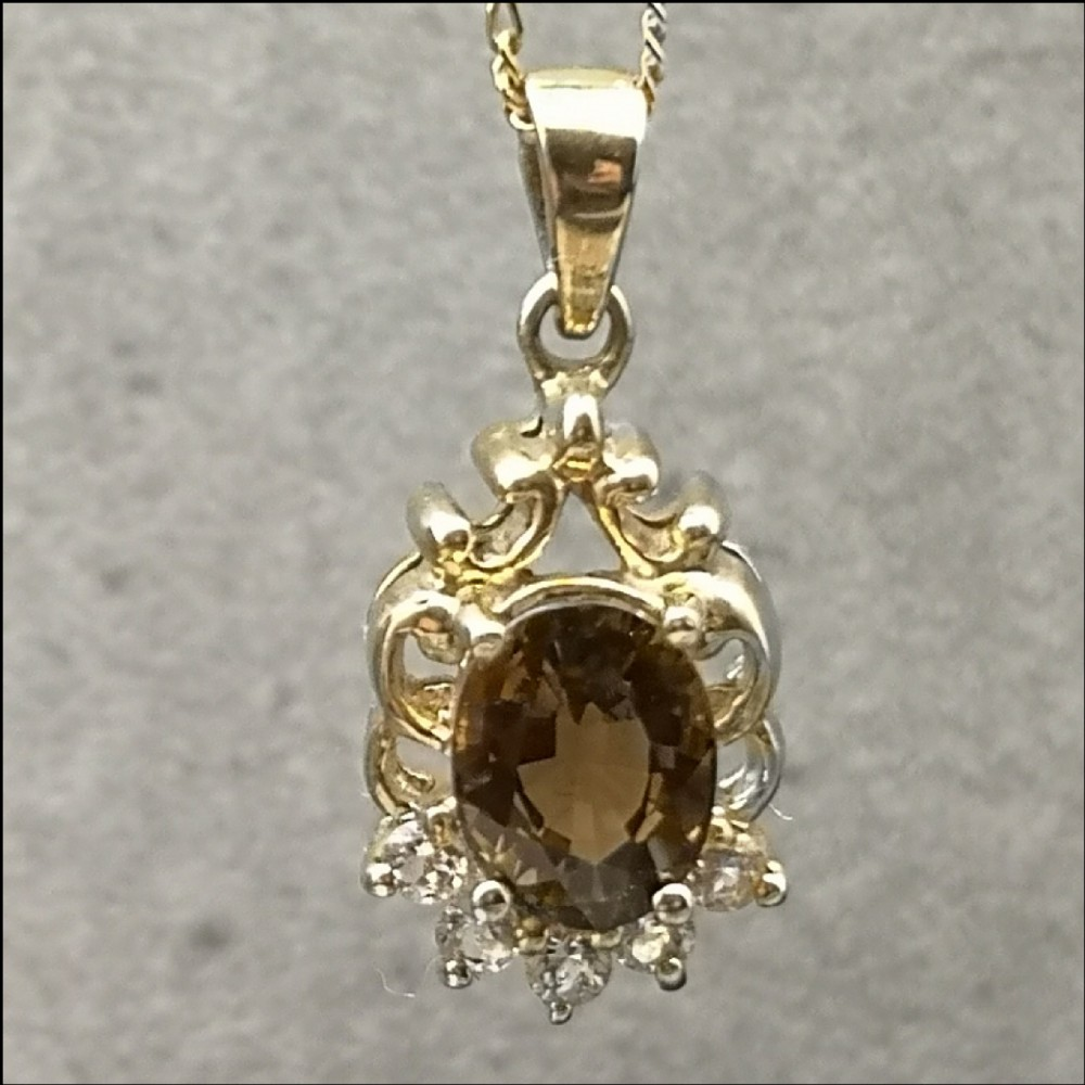 9ct gold cognac tourmaline and white topaz pendant and chain
