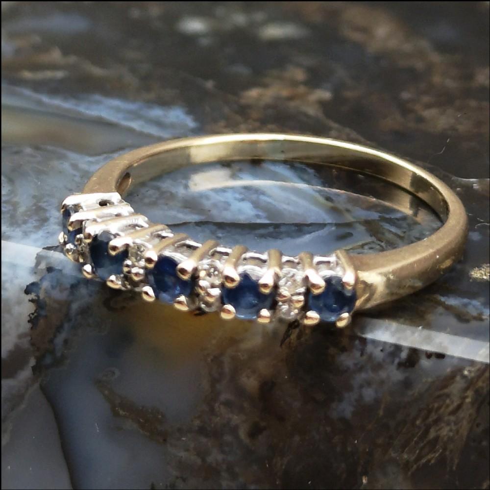 9ct gold diamond five stone sapphire ring