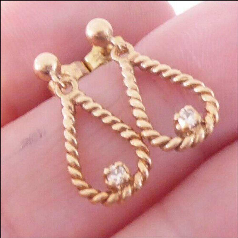 9ct gold pair of diamond drop earrings