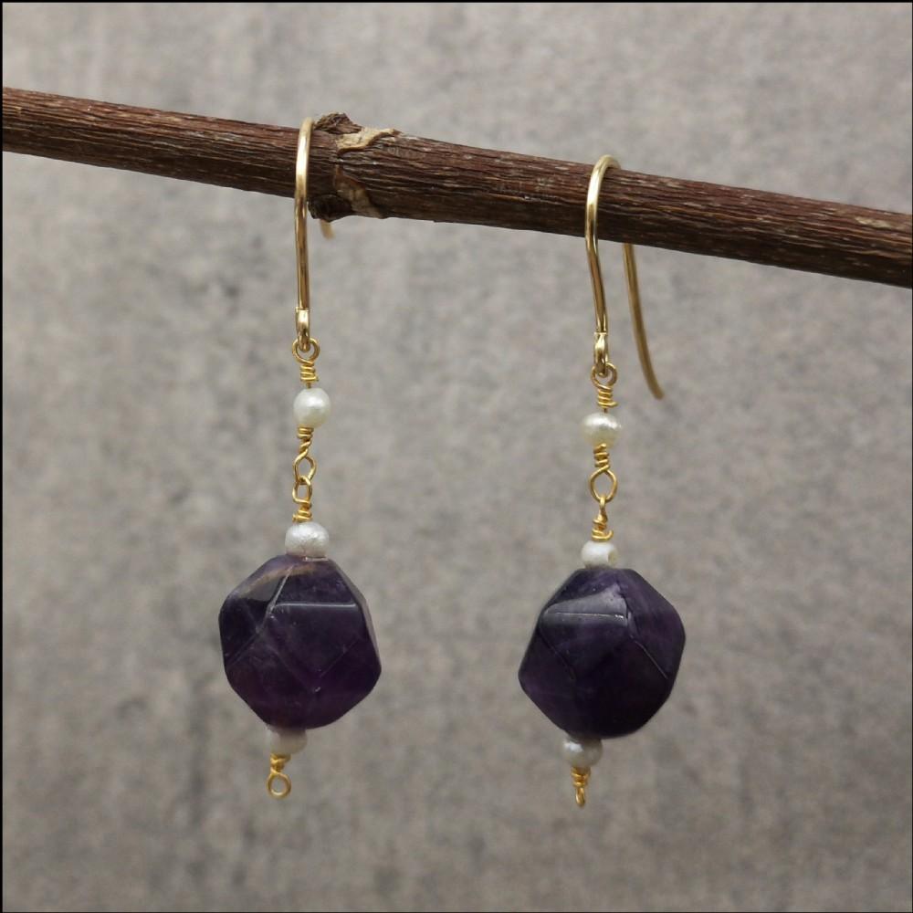 9ct gold pair of faceted amethyst pearl drop earrings