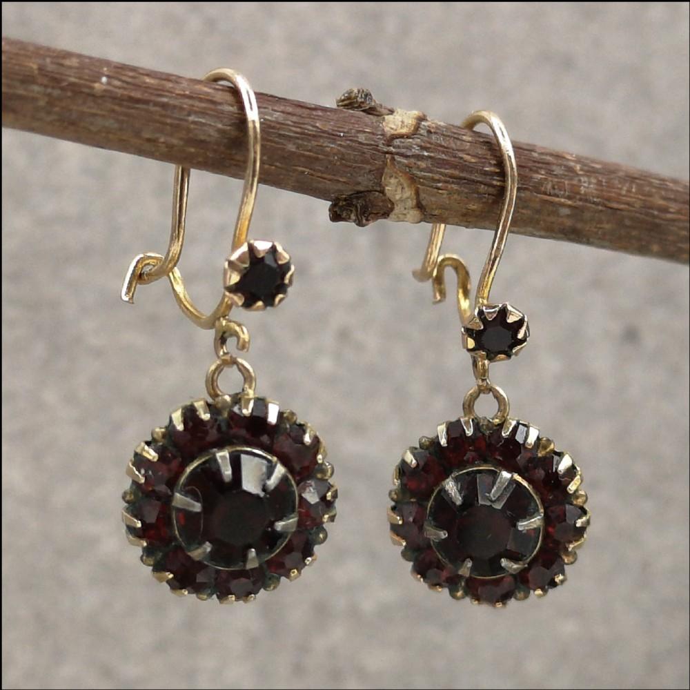 9ct gold victorian bohemian garnet cluster drop earrings