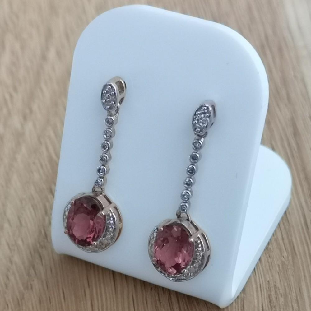 9ct gold diamond rhodalite garnet drop earrings