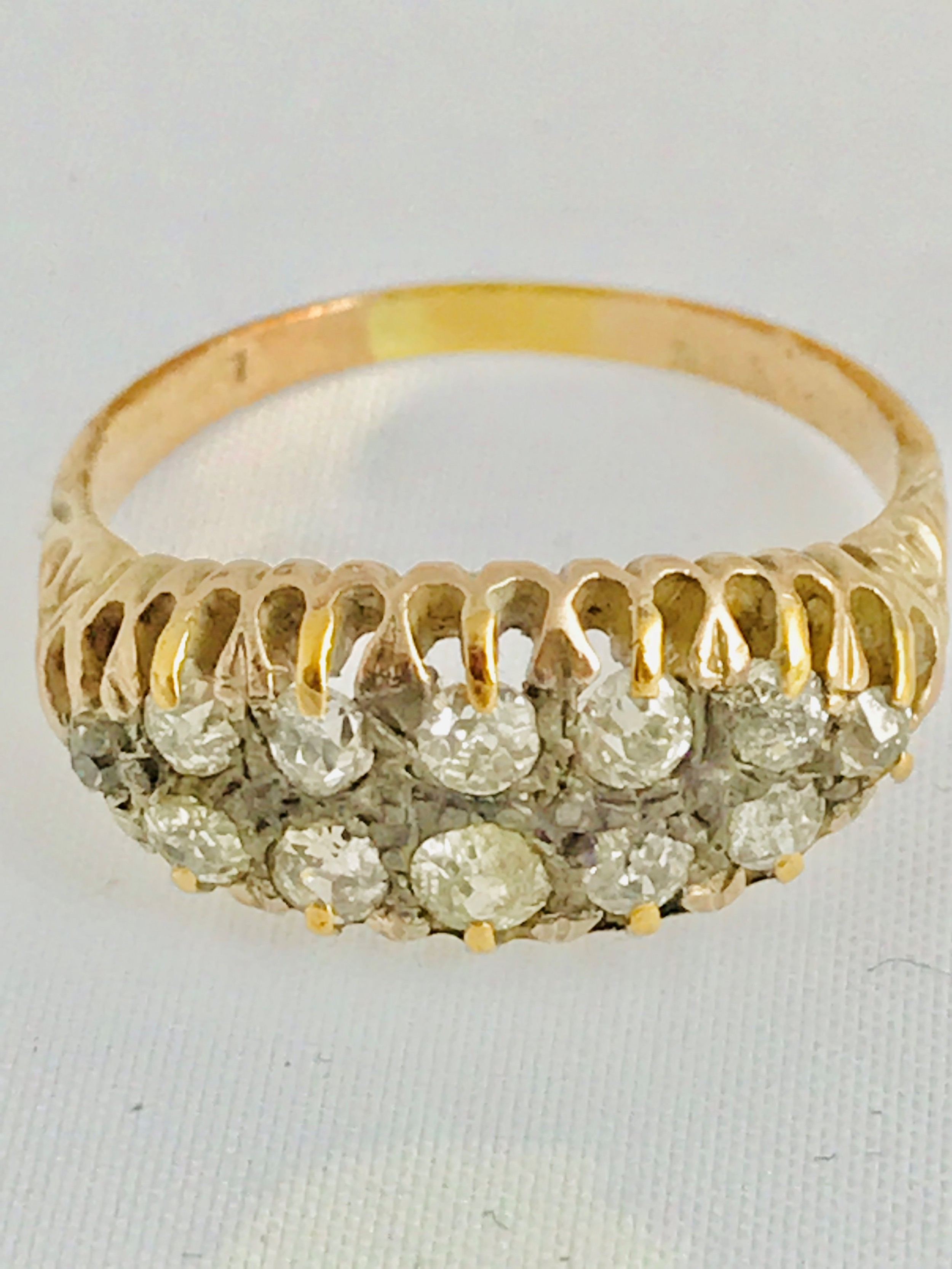 lovely edwardian 18ct gold 11ct diamond cluster ring